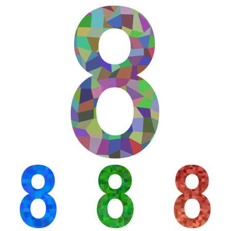 number 8: Colorful mosaic font design set - number 8 Illustration