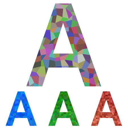 char: Textured mosaic font design set - letter A