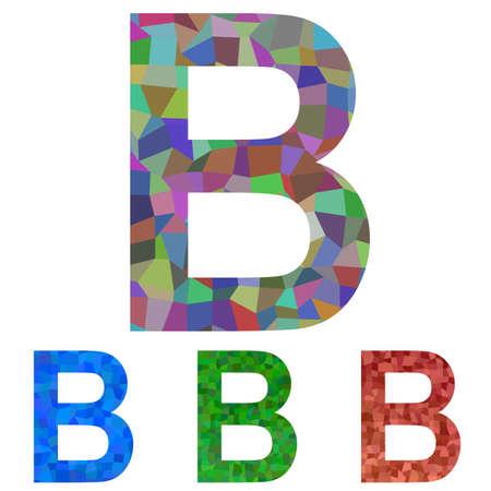 char: Textured mosaic font design set - letter B