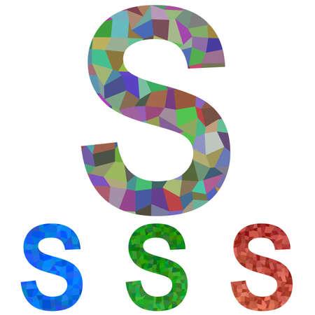 font design: Colorful textured mosaic font design - letter S