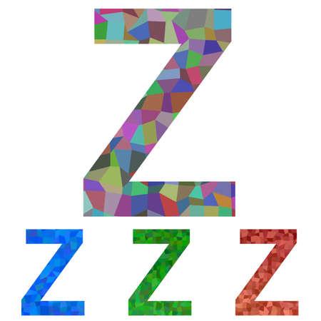 letter z: Colorful textured mosaic font design - letter Z Illustration
