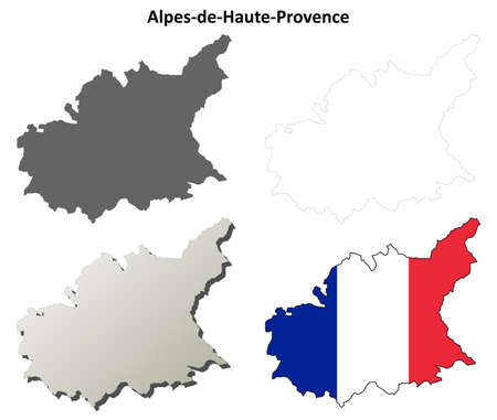 provence: Alpes-de-Haute-Provence, Provence blank detailed outline map set Illustration