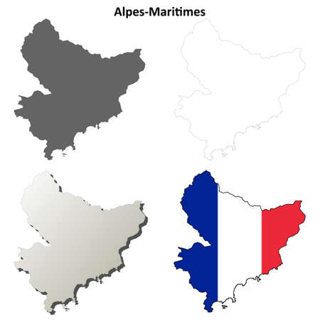 provence: Alpes-Maritimes, Provence blank detailed outline map set