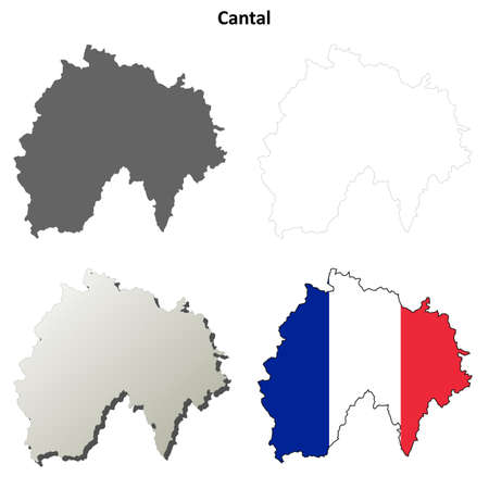 aurillac: Cantal, Auvergne blank detailed outline map set