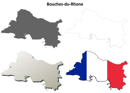 provence: Bouches-du-Rhone, Provence blank detailed outline map set Illustration
