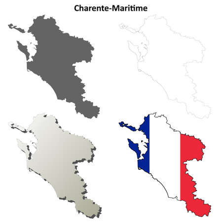 outline map: Charente-Maritime, Poitou-Charentes blank detailed outline map set Illustration