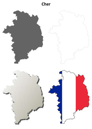 Cher, Centre blank detailed outline map set Illustration