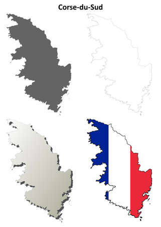 corsica: Corse-du-Sud, Corsica blank detailed outline map set