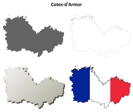 bretagne: Cotes-dArmor, Brittany blank detailed outline map set