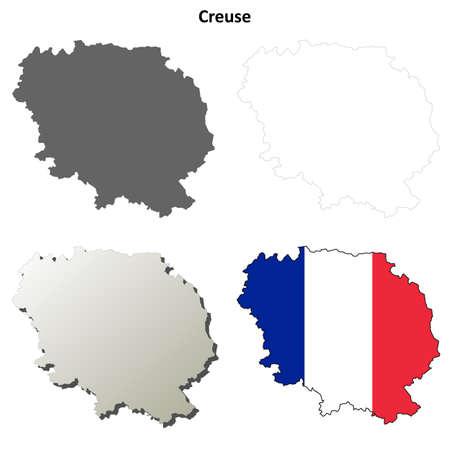 limousin: Creuse, Limousin blank detailed outline map set Illustration