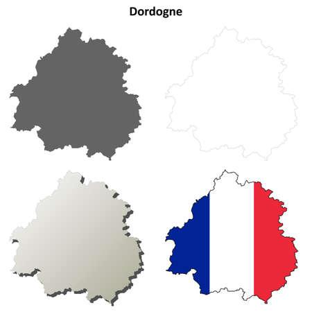aquitaine: Dordogne, Aquitaine blank detailed outline map set Illustration