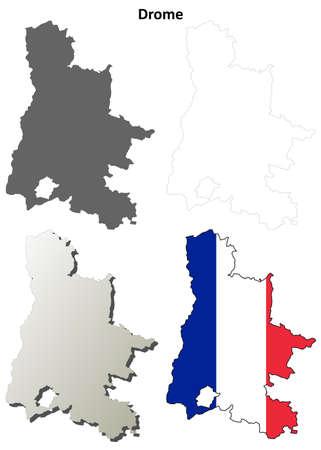 detailed: Drome, Rhone-Alpes blank detailed outline map set