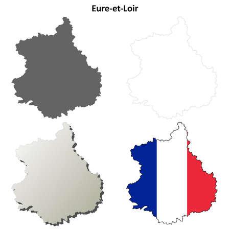Eure-et-Loir, Centre blank detailed outline map set Illustration