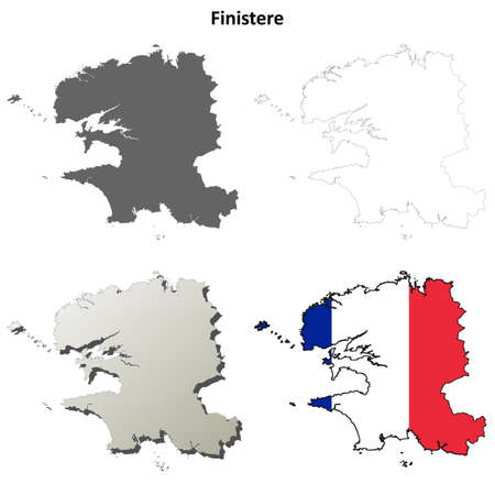 brittany: Finistere, Brittany blank detailed outline map set Illustration