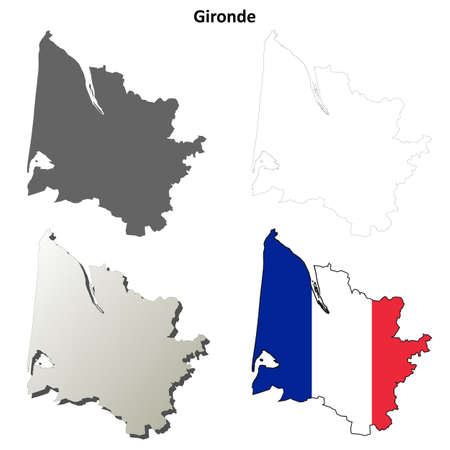 gironde department: Gironde, Aquitaine blank detailed outline map set