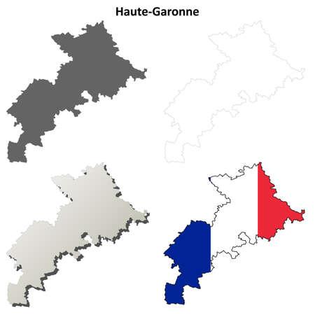 toulouse: Haute-Garonne, Midi-Pyrenees blank detailed outline map set