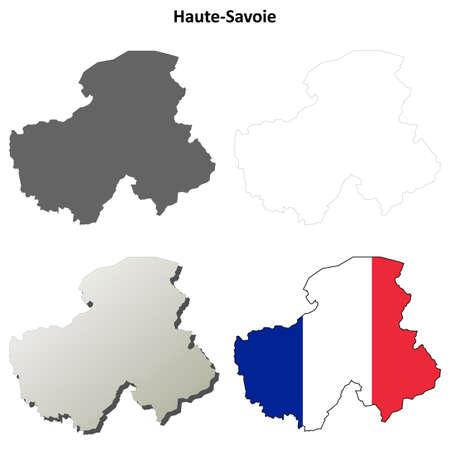 detailed: Haute-Savoie, Rhone-Alpes blank detailed outline map set