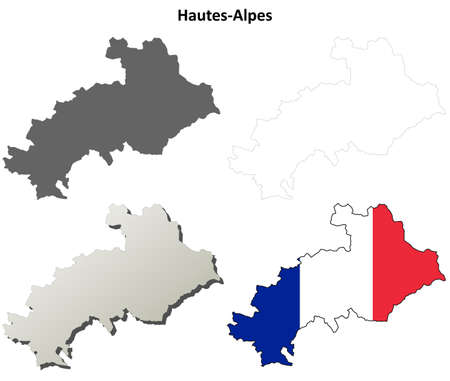 provence: Hautes-Alpes, Provence blank detailed outline map set Illustration