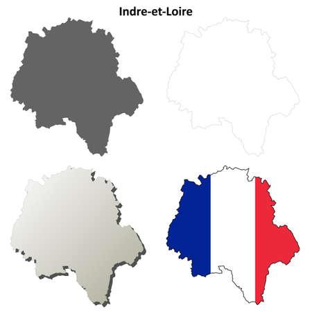 Indre-et-Loire, Centre ébauche détaillée fond de carte ensemble Banque d'images - 48696279