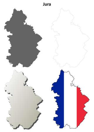jura: Jura, Franche-Comte blank detailed outline map set