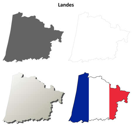 landes: Landes, Aquitaine blank detailed outline map set Illustration