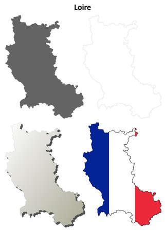 Loire, Rhone-Alpes blank detailed outline map set Illustration