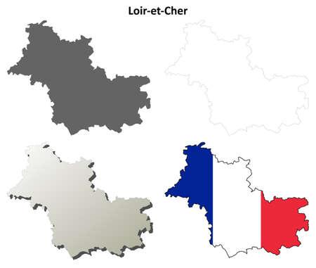 Loir-et-Cher, Centre blank detailed outline map set Illustration