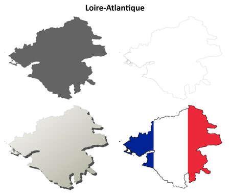 Loire-Atlantique, Pays de la Loire blank detailed outline map set