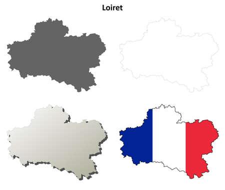Loiret, Centre vierge aperçu carte détaillée ensemble Banque d'images - 48696288