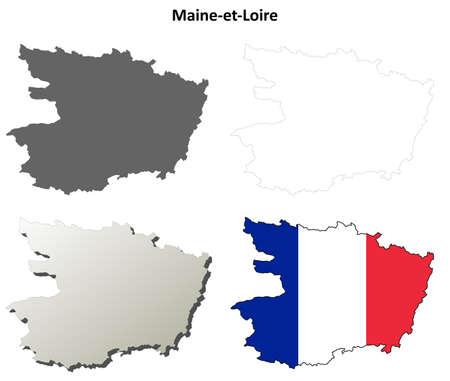 coastlines: Maine-et-Loire, Pays de la Loire blank detailed outline map set