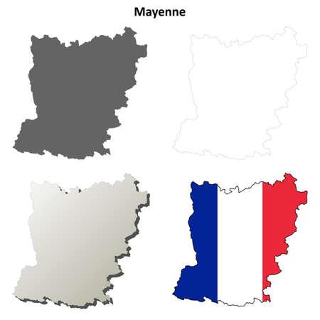 pays: Mayenne, Pays de la Loire blank detailed outline map set Illustration