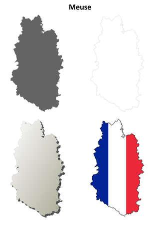 meuse: Meuse, Lorraine blank detailed outline map set Illustration