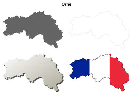 normandy: Orne, Lower Normandy blank detailed outline map set