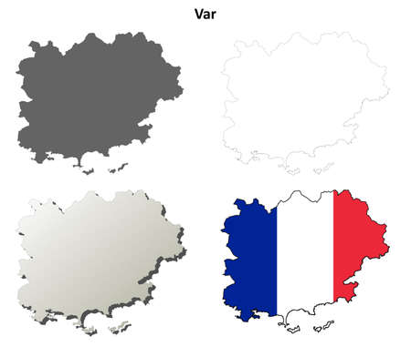 provence: Var, Provence blank detailed outline map set Illustration