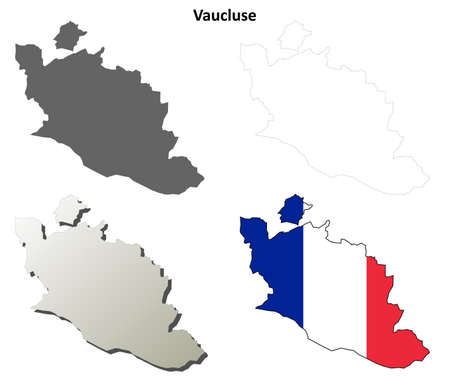 provence: Vaucluse, Provence blank detailed outline map set Illustration