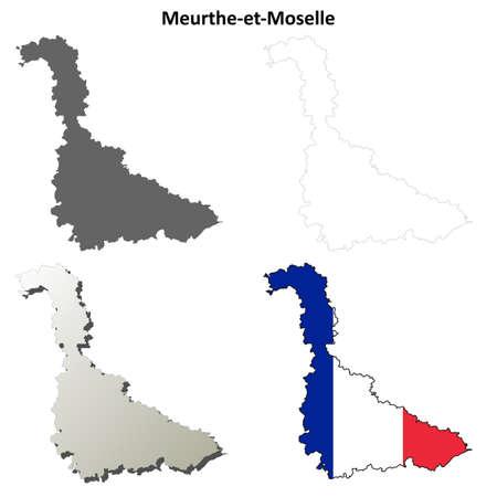 Meurthe-et-Moselle, Lorraine blank detailed outline map set