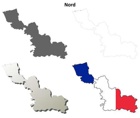 coastlines: Nord, Nord-Pas-de-Calais blank detailed outline map set