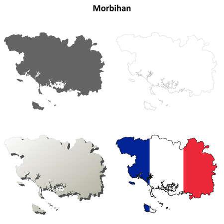 bretagne: Morbihan, Brittany blank detailed outline map set