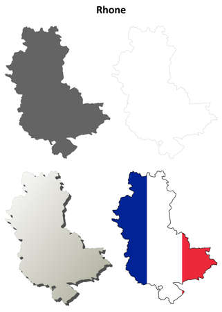 rhone: Rhone, Rhone-Alpes blank detailed outline map set Illustration