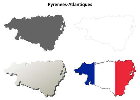 aquitaine: Pyrenees-Atlantiques, Aquitaine blank detailed outline map set