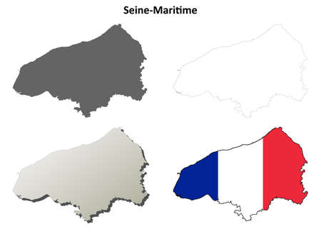 normandy: Seine-Maritime, Upper Normandy blank detailed outline map set