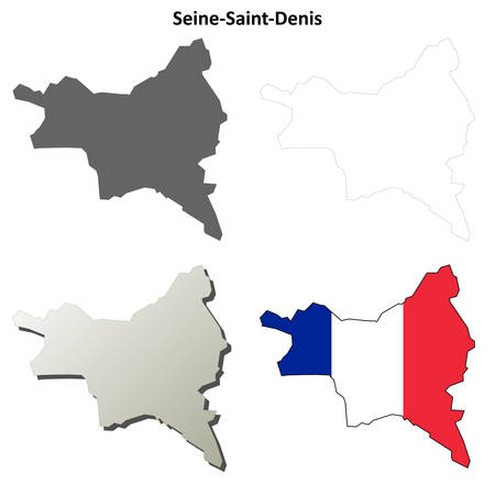 Seine-Saint-Denis, Ile-de-France blank detailed outline map set