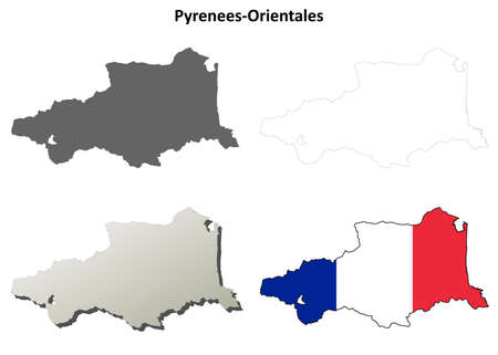 coastlines: Pyrenees-Orientales, Languedoc-Roussillon blank detailed outline map set