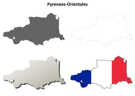 coastline: Pyrenees-Orientales, Languedoc-Roussillon blank detailed outline map set