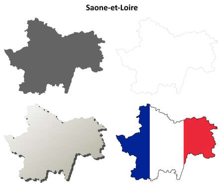 Saone-et-Loire, Burgundy blank detailed outline map set