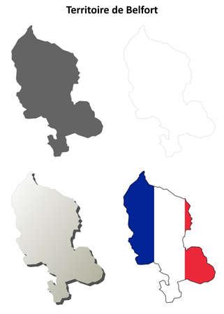 belfort: Territoire de Belfort, Franche-Comte blank detailed outline map set