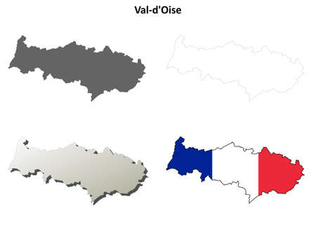 pontoise: Val-dOise, Ile-de-France blank detailed outline map set