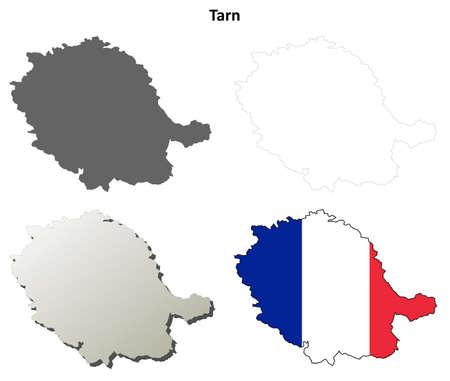 Tarn, Midi-Pyrenees blank detailed outline map set