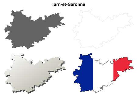 Tarn-et-Garonne, Midi-Pyrenees blank detailed outline map set