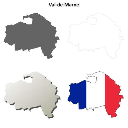 detailed: Val-de-Marne, Ile-de-France blank detailed outline map set
